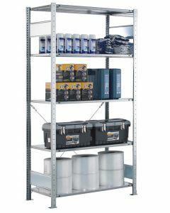 Fachbodenregal Stecksystem, Grundregal, einseitig nutzbar, H2000xB1000xT400, 5 Fachböden, Fachlast 150kg, sendzimirverzinkt