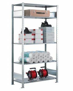 Fachbodenregal Stecksystem, Grundregal, beidseitig nutzbar, H1800xB750xT350, 4 Fachböden, Fachlast 85kg, sendzimirverzinkt