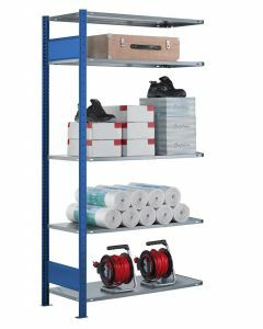 Fachbodenregal Stecksystem, Anbauregal, beidseitig nutzbar, H2500xB750xT300, 6 Fachböden, Fachlast 85kg, RAL 5010 enzianblau