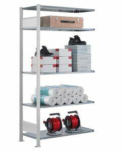 Fachbodenregal Stecksystem, Anbauregal, beidseitig nutzbar, H2500xB750xT300, 6 Fachböden, Fachlast 85kg, RAL 7035 lichtgrau
