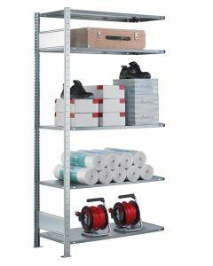 Fachbodenregal Stecksystem, Anbauregal, beidseitig nutzbar, H2500xB750xT350, 6 Fachböden, Fachlast 85kg, sendzimirverzinkt