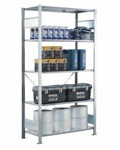 Fachbodenregal Stecksystem, Grundregal, einseitig nutzbar, H1800xB750xT300, 4 Fachböden, Fachlast 150kg, sendzimirverzinkt