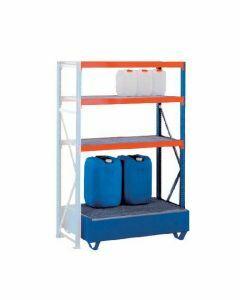 Weitspannregal W 100, Anbauregal mit  Ebenen Gitterrostböden, Höhe 2000 mm, Breite 1250 mm, Tiefe 600 mm, blau / orange / verzinkt