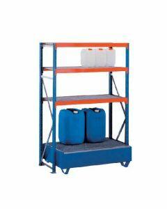 Weitspannregal W 100, Grundregal mit  Ebenen Gitterrostböden, Höhe 2000 mm, Breite 1250 mm, Tiefe 600 mm, blau / orange / verzinkt