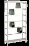 Pendelhefteregal, Schraubsystem, Grundregal, Zippel, H1800xB1000xT350 mm, 5 Pendelstangen, verzinkt/ RAL 7035 lichtgrau