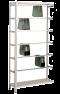 Pendelhefteregal, Schraubsystem, Anbauregal, Zippel, H1800xB1000xT350 mm, 5 Pendelstangen, verzinkt/ RAL 7035 lichtgrau