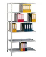 Büroregal, Anbauregal, Schraubystem - beidseitig nutzbar mit Mittelanschlag, H1800xB750xT600 mm, RAL 7035 lichtgrau