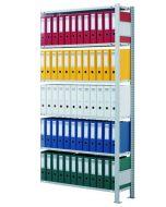 Büroregal Stecksystem, Anbauregal, einseitig nutzbar ohne Anschlagleiste, H1800xB750xT300 mm, Fachlast 85 kg, Rahmen sendzimirverzinkt, Fachböden verzinkt