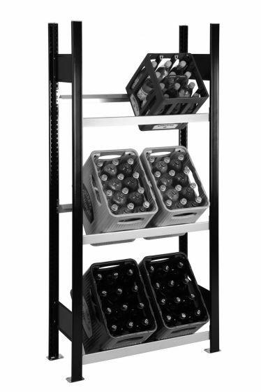 Getränkekisten-Regal, GR, H1800xB750xT300 mm, schwarz/silber