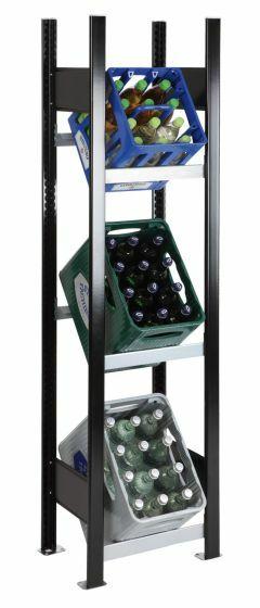 Getränkekisten-Regal, GR, H1800xB400xT300 mm, schwarz/silber