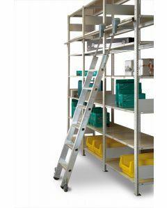 Aluminium-Regalleiter - fahrbar, Senkrechte Eingehehöhe 2,86 m - Schulte Lagertechnik