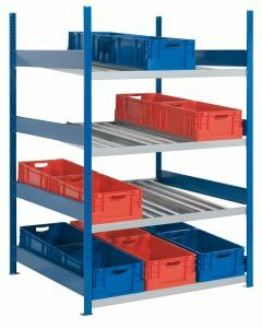 Bereitstellregal, Grundregal, beidseitig nutzbar, H2000xB1300xT1300 mm, RAL 5010 enzianblau/ verzinkt