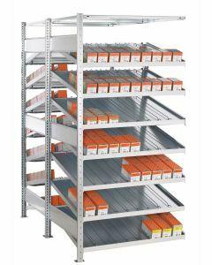 Doppel-Kanbanregal, Anbauregal, beidseitig nutzbar, H2000xB1000xT2x800 mm, Ausführung - Mit Trenn- und Seitenführungen, verzinkt