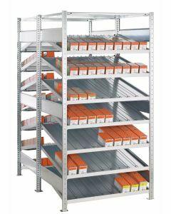 Doppel-Kanbanregal, Grundregal, beidseitig nutzbar, H2000xB1300xT2x600 mm, Ausführung - Ohne Trenn- und Seitenführungen, verzinkt