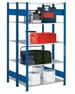 Doppelregal Stecksystem, Grundregal, mit Längenriegel, H2000xB1000xT2x400, Fachlast 150kg, RAL 5010 enzianblau