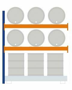 Fassregal - für stehende und liegende Lagerung, Anbauregal, Einrichtung 6 x 200 l liegend 6 x 200 l stehend, Rahmen H x T 2500 x 850mm