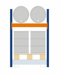 Fassregal - für stehende und liegende Lagerung, Grundregal, Einrichtung 2 x 200 l liegend 4 x 200 l stehend, Rahmen H x T 2000 x 850mm