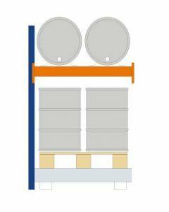 Fassregal - für stehende und liegende Lagerung, Anbauregal, Einrichtung 2 x 200 l liegend 4 x 200 l stehend, Rahmen H x T 2000 x 850mm