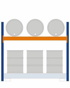 Fassregal - für stehende und liegende Lagerung, Grundregal, Einrichtung 3 x 200 l liegend 6 x 200 l stehend, Rahmen H x T 2000 x 850mm