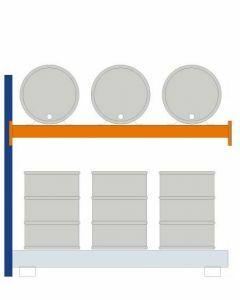 Fassregal - für stehende und liegende Lagerung, Anbauregal, Einrichtung 3 x 200 l liegend 6 x 200 l stehend, Rahmen H x T 2000 x 850mm