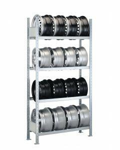 Felgenregal, Grundregal, H2000xB1300xT300 mm, Fachlast 150 kg, Feldlast 1300 kg, verzinkt