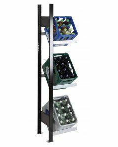Getränkekisten-Regal, Anbauregal, H1800xB400xT300 mm, schwarz/silber