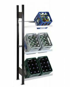 Getränkekisten-Regal, Anbauregal, H1800xB750xT300 mm, schwarz/silber