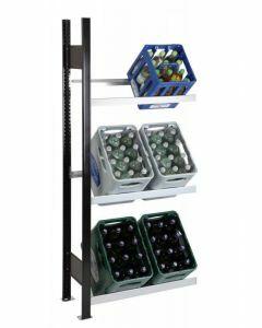 Getränkekisten-Regal, Anbauregal, H1800xB1300xT300 mm, schwarz/silber