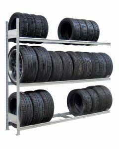 Räder-/Reifenregal, Anbauregal, H2000xB2500xT400 mm, Fachlast 400 kg, Feldlast 1200 kg, verzinkt