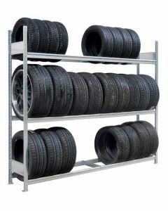 Räder-/Reifenregal, Grundregal, H2000xB2250xT400 mm, Fachlast 400 kg, Feldlast 1200 kg, verzinkt