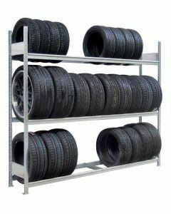Räder-/Reifenregal, Grundregal, H2000xB1500xT400 mm, Fachlast 400 kg, Feldlast 1200 kg, verzinkt