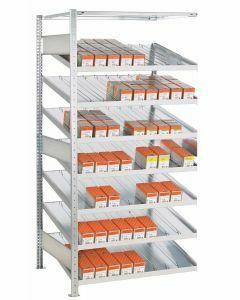 Kanbanregal, Anbauregal, beidseitig nutzbar, H2000xB1300xT500 mm, Ausführung - Mit Trenn- und Seitenführungen, verzinkt