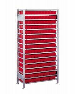 Kleinteileregal-Set, Grundregal, H2000xB1000xT600 mm, Fachlast 150 kg, Feldlast 2400 kg, verzinkt