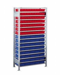 Kleinteileregal-Set, Grundregal, H2000xB1000xT500 mm, Fachlast 150 kg, Feldlast 2400 kg, verzinkt