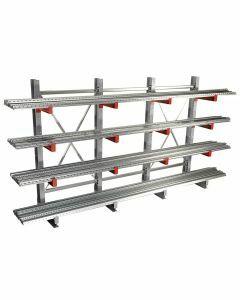Kragarmregal K 3000, Komplettregal, einseitig nutzbar, H2500xB6500xT400 mm,  Anz. Felder 5, RAL 7001 silbergrau / RAL 3000 feuerrot
