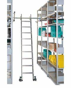 Aluminium-Regalleiter - seitlich verschiebbar, Senkrechte Eingehehöhe 2,20 m - Schulte Lagertechnik