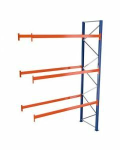 Palettenregal, Anbauregal, 4 Lagerebenen, H3000xB2786xT1100 mm, Palettengewicht bis 610 kg,  12 Palettenplätze, RAL 5010 / RAL 2004