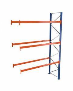 Palettenregal, Anbauregal, 4 Lagerebenen, H4000xB2786xT1100 mm, Palettengewicht bis 610 kg,  12 Palettenplätze, RAL 5010 / RAL 2004