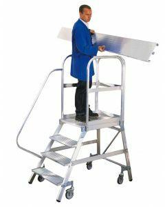 Aluminium-Podestleiter, einseitig begehbar, 3,9 m Arbeitshöhe