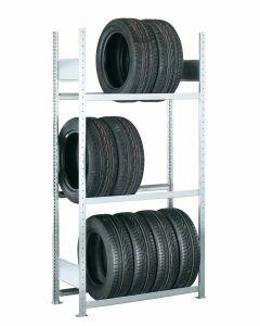 Räder-/Reifenregal, Grundregal, H2000xB1300xT400 mm, Fachlast 150 kg, Feldlast 2000 kg, verzinkt