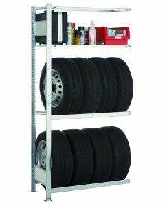 Garagenregal-Set, Anbauregal, 3 Lagerebenen, H2000xB1000xT400 mm, Fachlast 150 kg, verzinkt