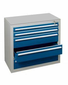 Schubladenblock, H400xB1000xT500mm, RAL 5010 enzianblau - RAL 7035 lichtgrau