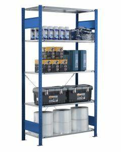 Fachbodenregal Stecksystem, Grundregal, einseitig nutzbar, H1800xB750xT500, 4 Fachböden, Fachlast 150kg, RAL 5010 enzianblau