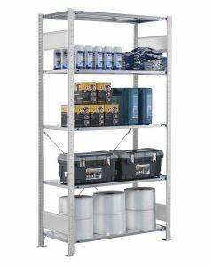 Fachbodenregal Stecksystem, Grundregal, einseitig nutzbar, H1800xB750xT400, 4 Fachböden, Fachlast 150kg, RAL 7035 lichtgrau