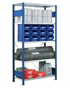 Fachbodenregal Stecksystem, Grundregal, einseitig nutzbar, H1800xB750xT400, 4 Fachböden, Fachlast 250kg, RAL 5010 enzianblau