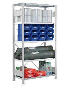 Fachbodenregal Stecksystem, Grundregal, einseitig nutzbar, H1800xB750xT400, 4 Fachböden, Fachlast 250kg, RAL 7035 lichtgrau