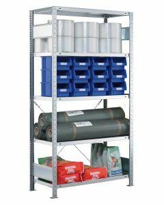 Fachbodenregal Stecksystem, Grundregal, einseitig nutzbar, H1800xB750xT400, 4 Fachböden, Fachlast 250kg, sendzimirverzinkt
