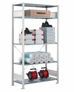 Fachbodenregal Stecksystem, Grundregal, einseitig nutzbar, H1800xB1000xT350, 4 Fachböden, Fachlast 85kg, RAL 7035 lichtgrau