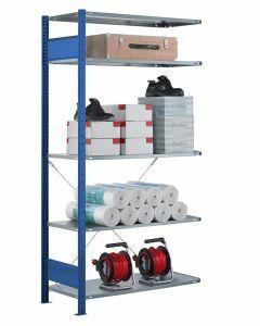 Fachbodenregal Stecksystem, Anbauregal, einseitig nutzbar, H2000xB750xT350, 5 Fachböden, Fachlast 85kg, RAL 5010 enzianblau