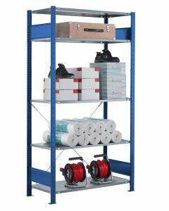 Fachbodenregal Stecksystem, Grundregal, einseitig nutzbar, H2500xB1300xT300, 6 Fachböden, Fachlast 85kg, RAL 5010 enzianblau